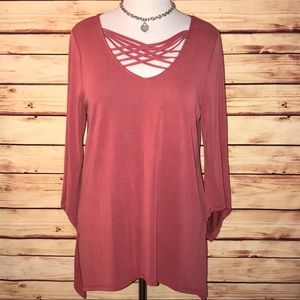 Cable & Gauge Salmon Strappy Neck Tunic